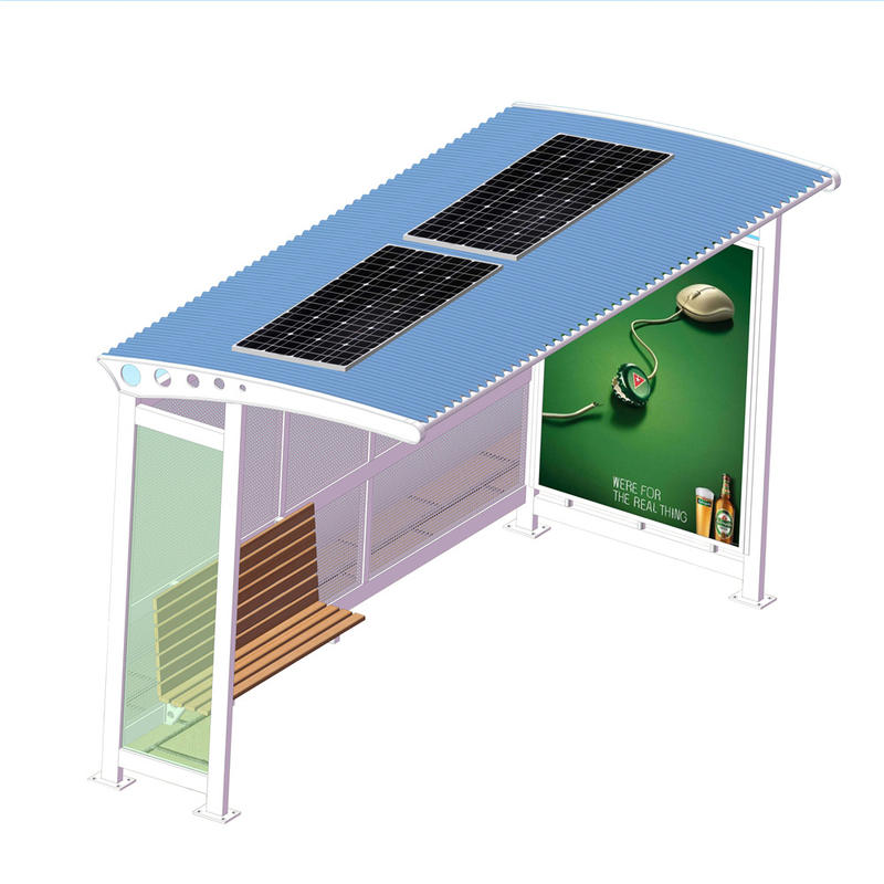 Metal Material Solar Powered Outdoor Bus Shelter