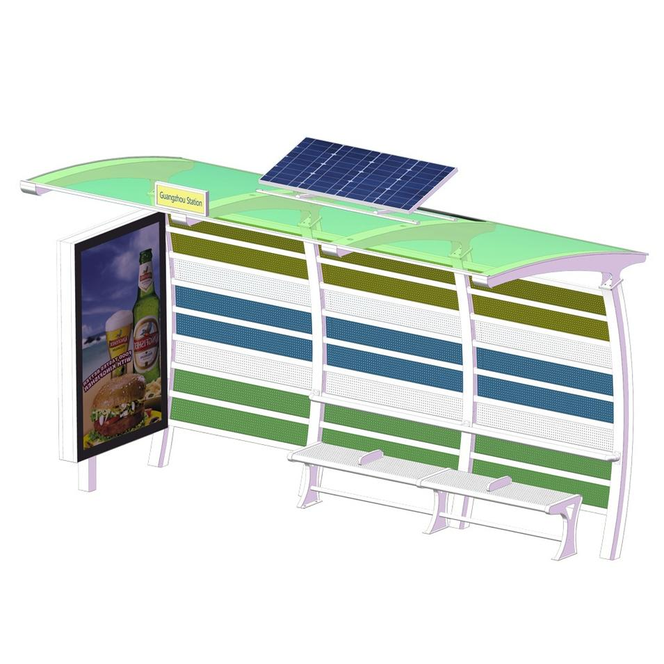 Prefabricated cheap price solar bus stop shelter