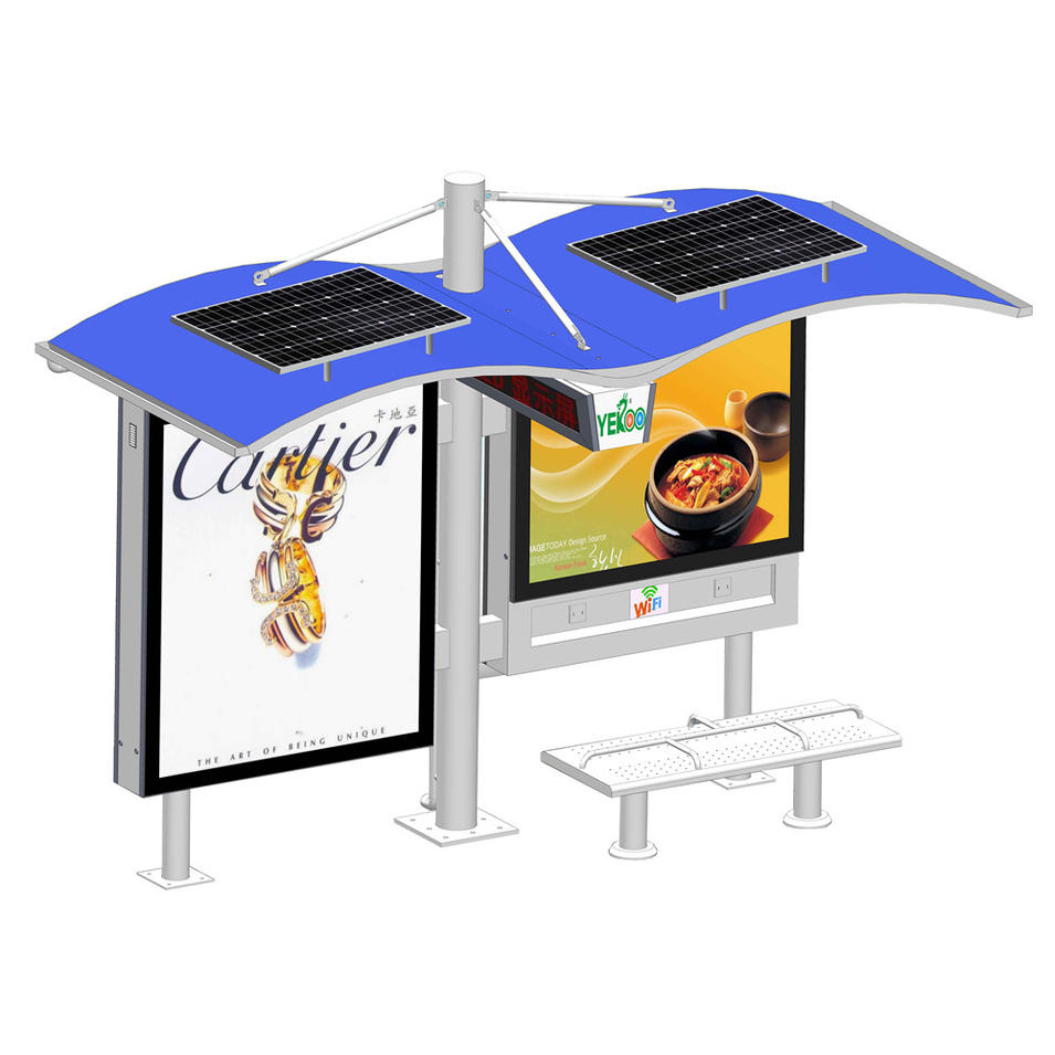 Customized smart traffic multi function solar bus stop with light box