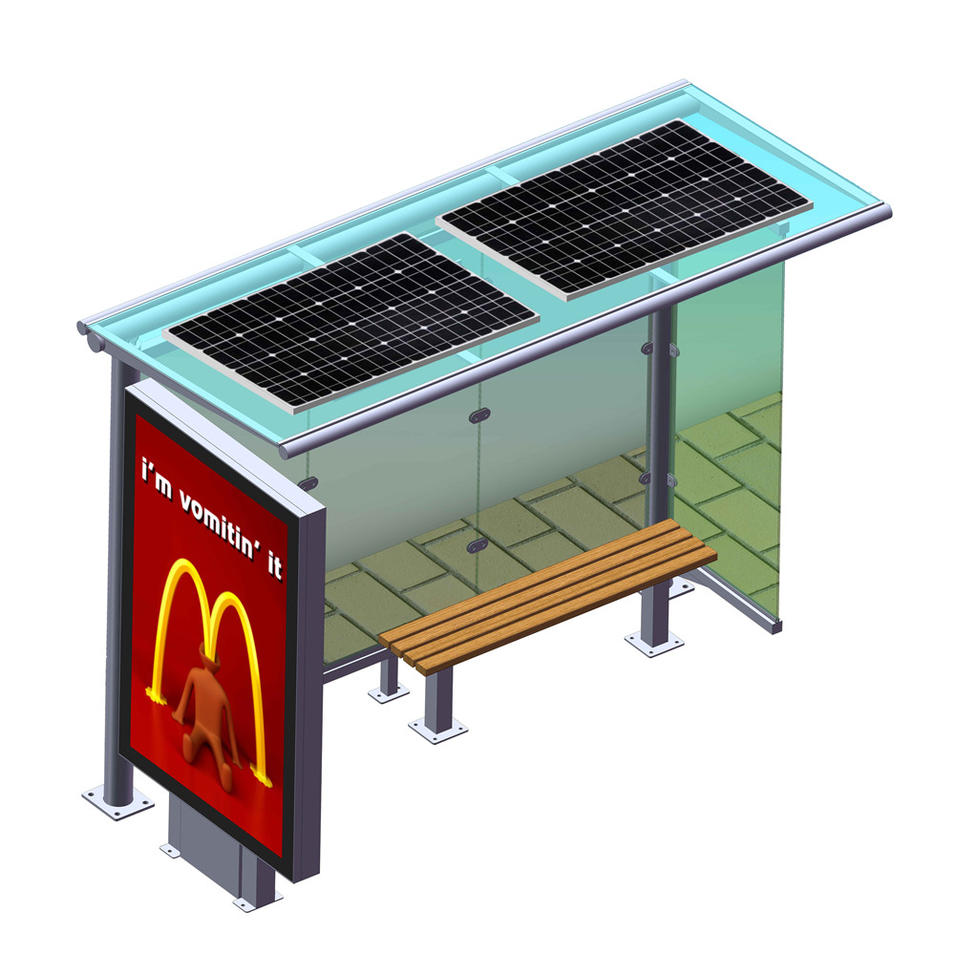 Solar outdoor Bus Shelter / Advertising Bus Stop With Bench