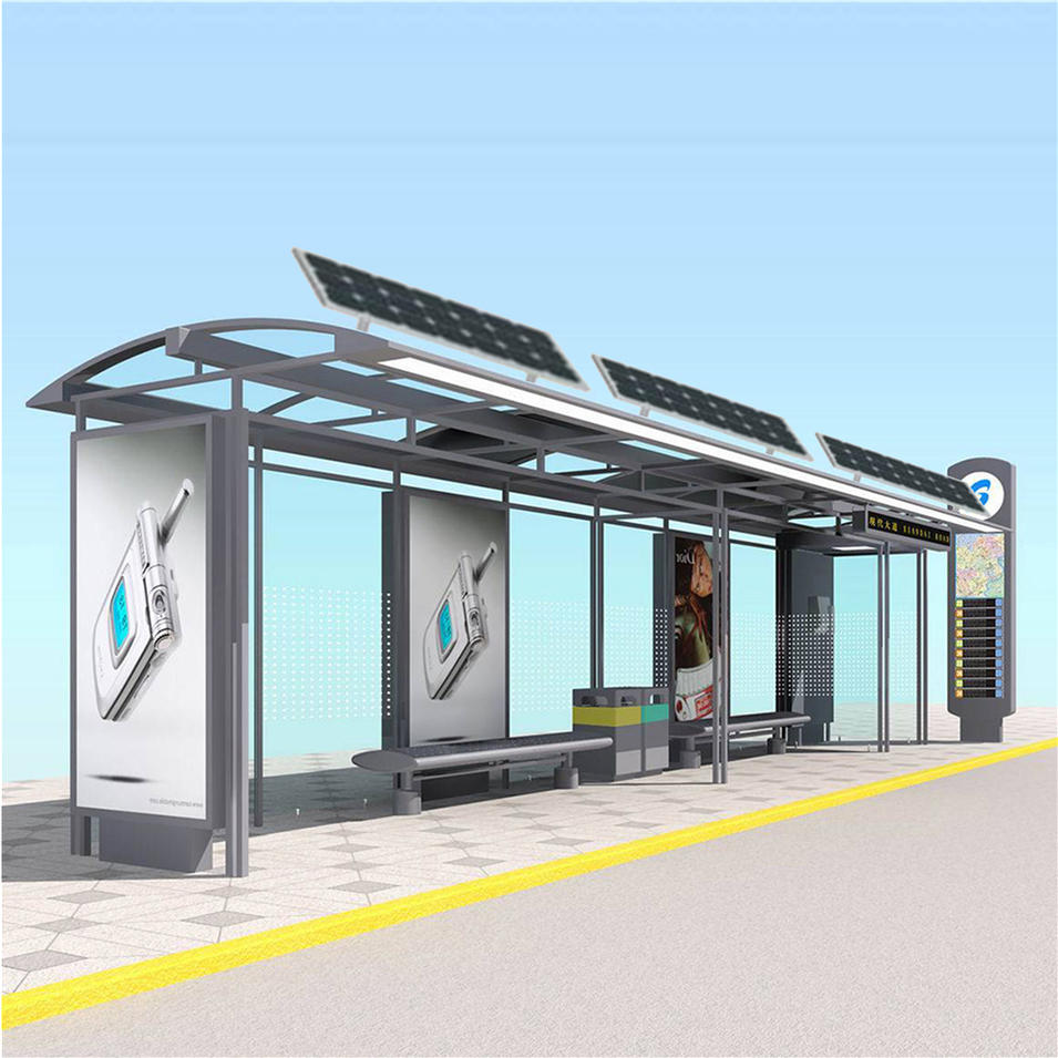 Energy saving solar bus shelter with tempered glass