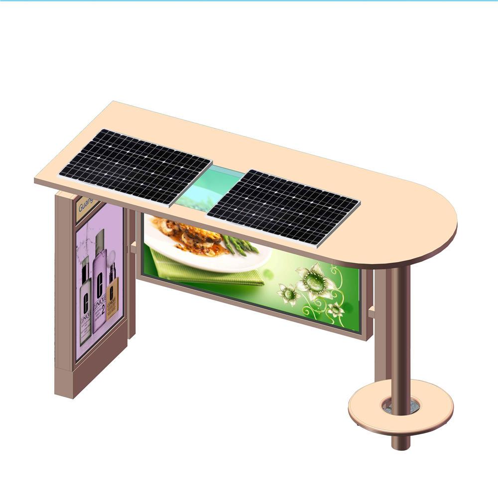 Outdoor Metal Steel Advertising Solar Bus Shelter Stop Station