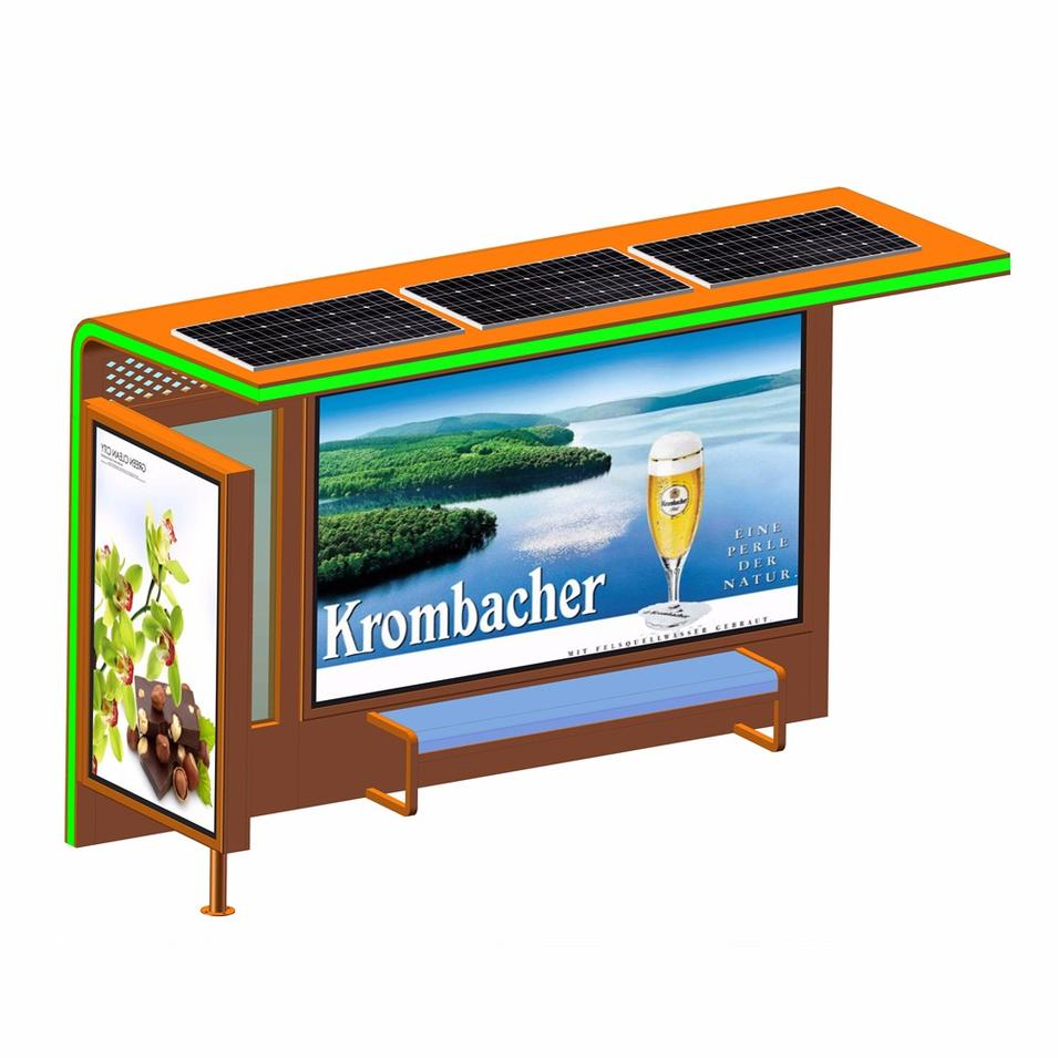 Outdoor Metal Bus Stop Shelter Solar Power Bus Stop