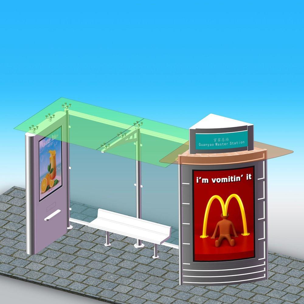 Metal Solar Bus Stop Shelter Design With Sales Kiosk