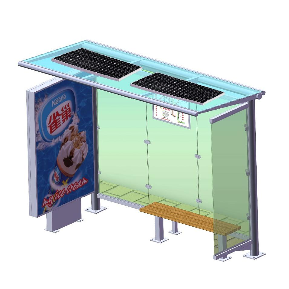 YEROO manufactory hot sale advertising solar bus stops shelter design