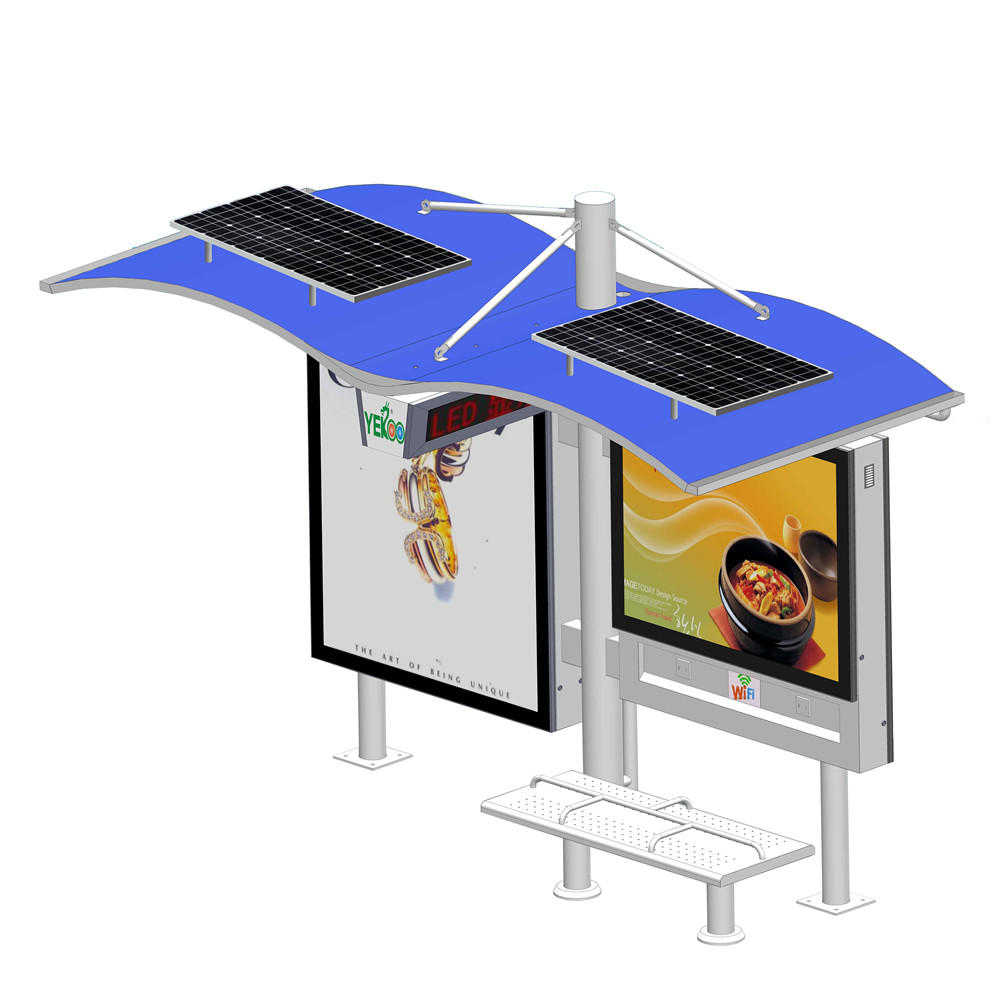 Outdoor Advertising Solar Bus Stop with Beach