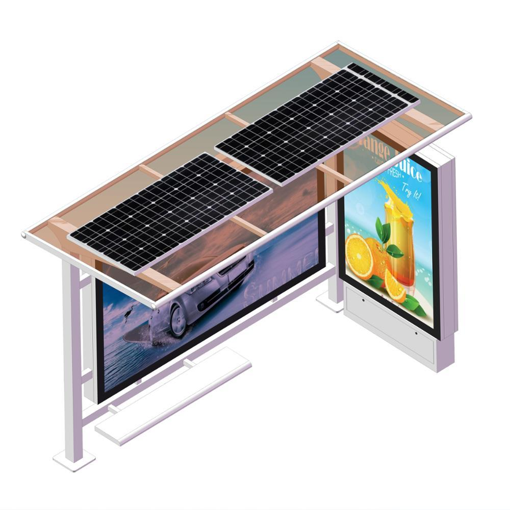 Smart digital lcd display bus stop shelter with bench