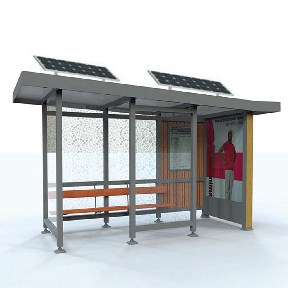Outdoor furniture metal solar bus stop modern bus shelter