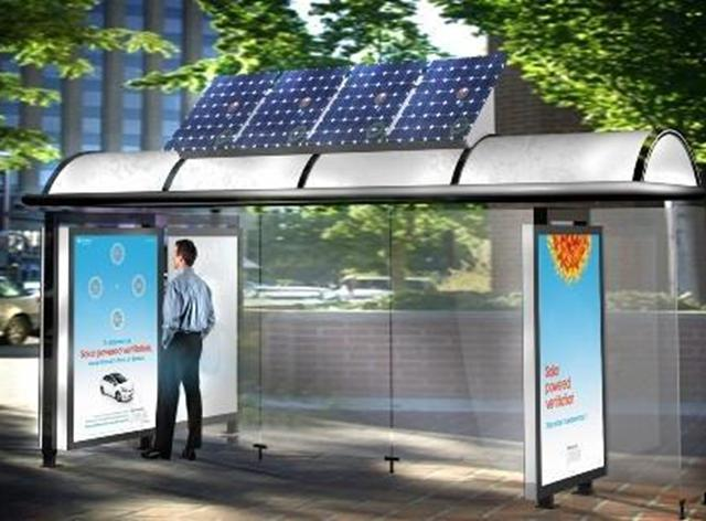New design solar bus shelter outdoor advertising bus stop