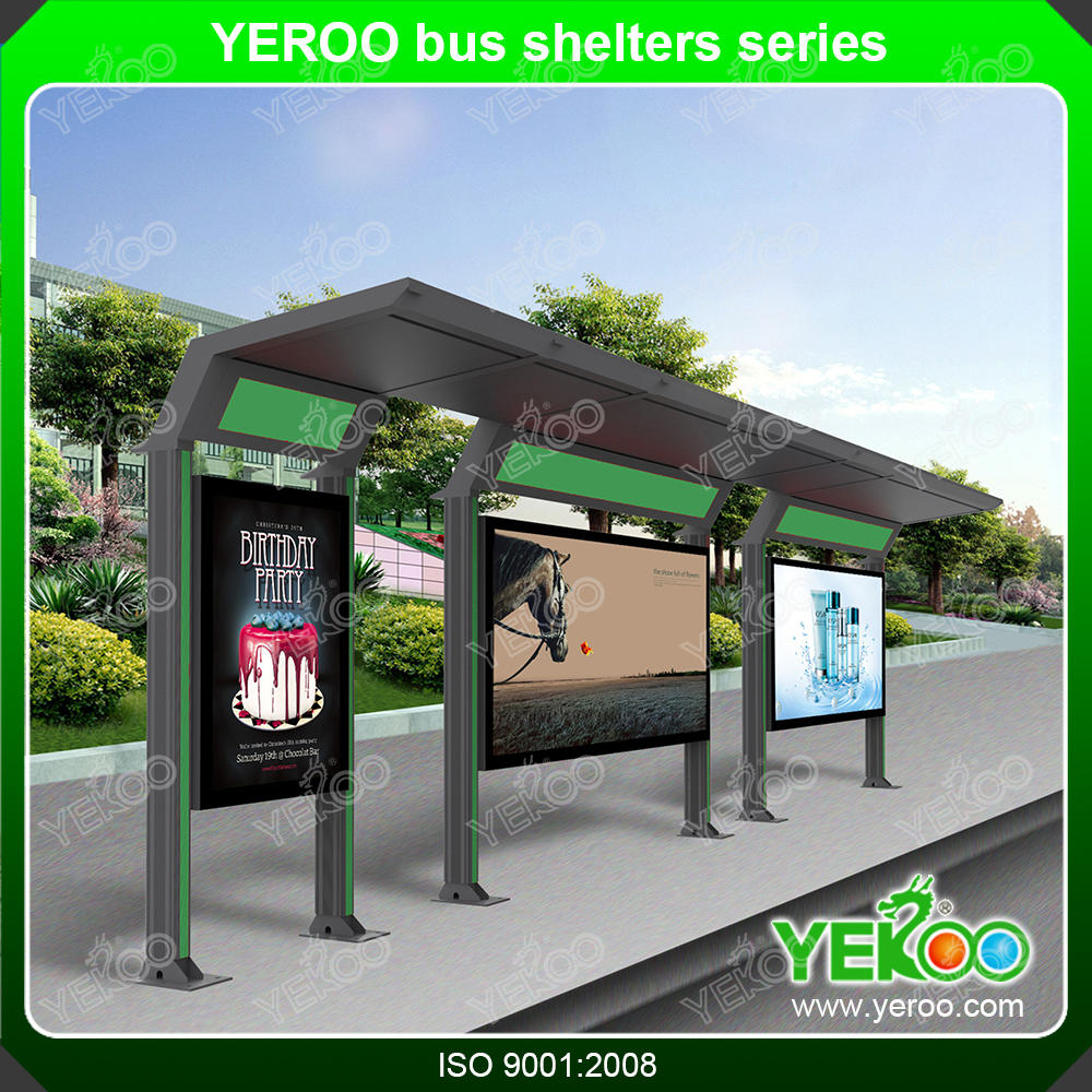 Solar bus stop shelter GPS made by best roofing materials