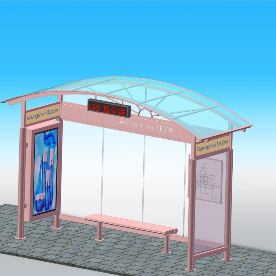 Bus Stop Shelter Kiosk Advertising board with Stop button