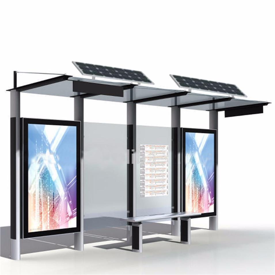 Most popular solar powered steel bus stop shelter bus stop bench