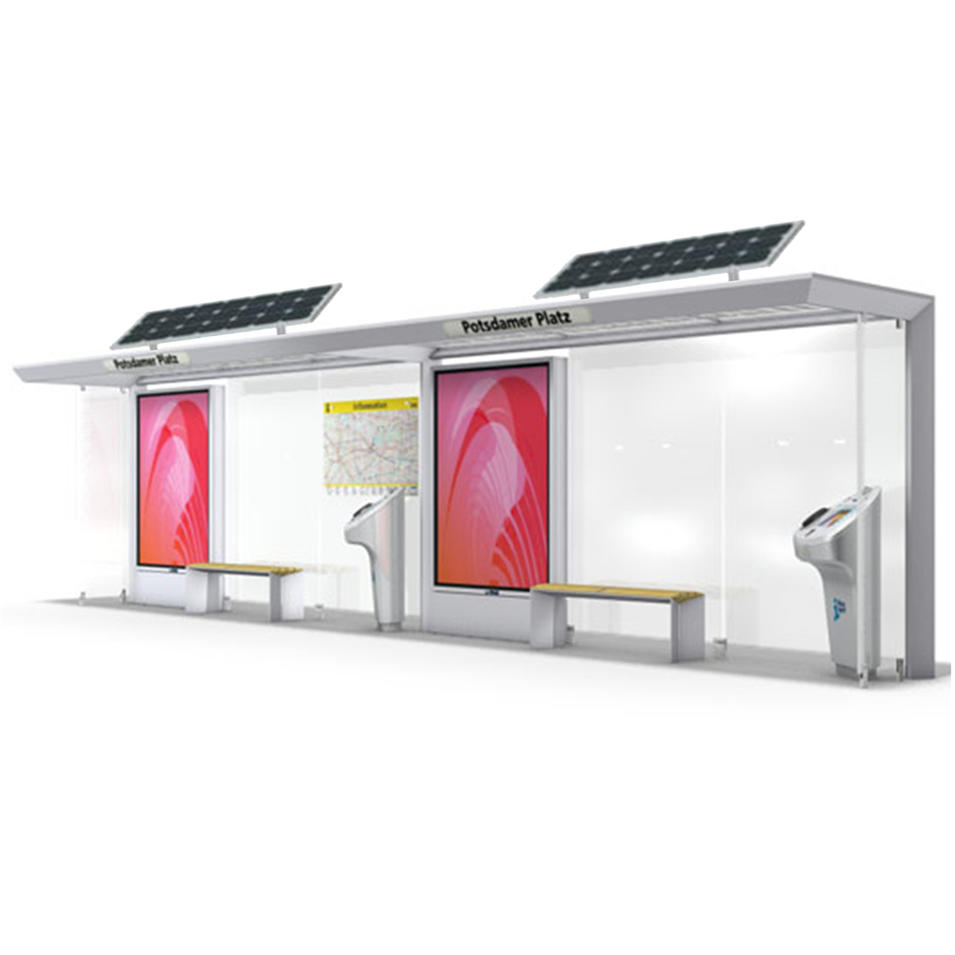 Smart Customized Digital Adversting LCD Bus Stop Shelter With Solar
