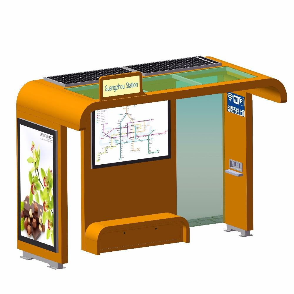 Smart Project Stainless Steel LCD Light Box Solar Bus Stop Shelter