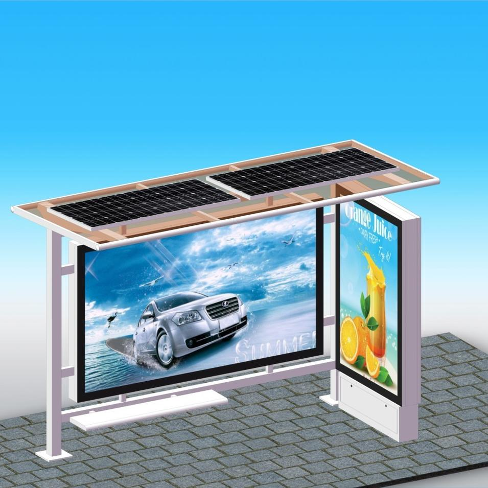 Nice Design Solar Bus Stop Shelter With Advertising LED Lightbox