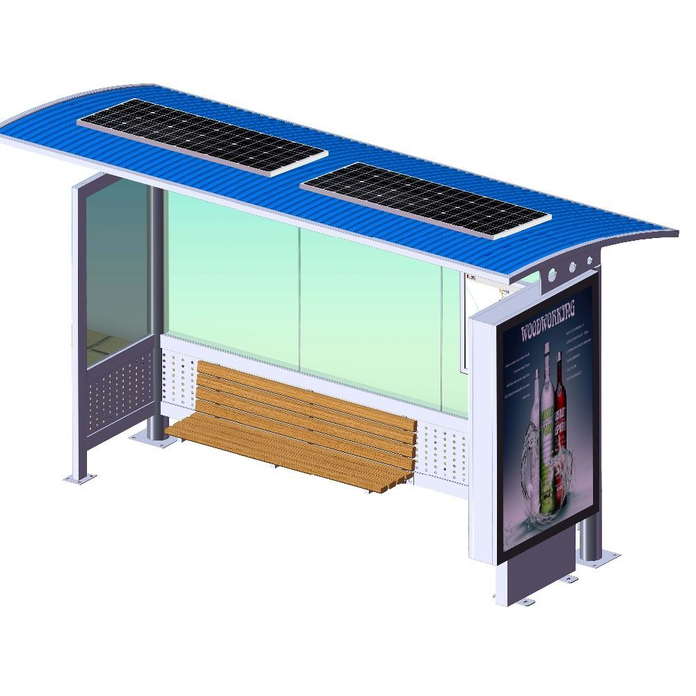 Bus Stop Shelter Solar Power Install Adverting Light Box