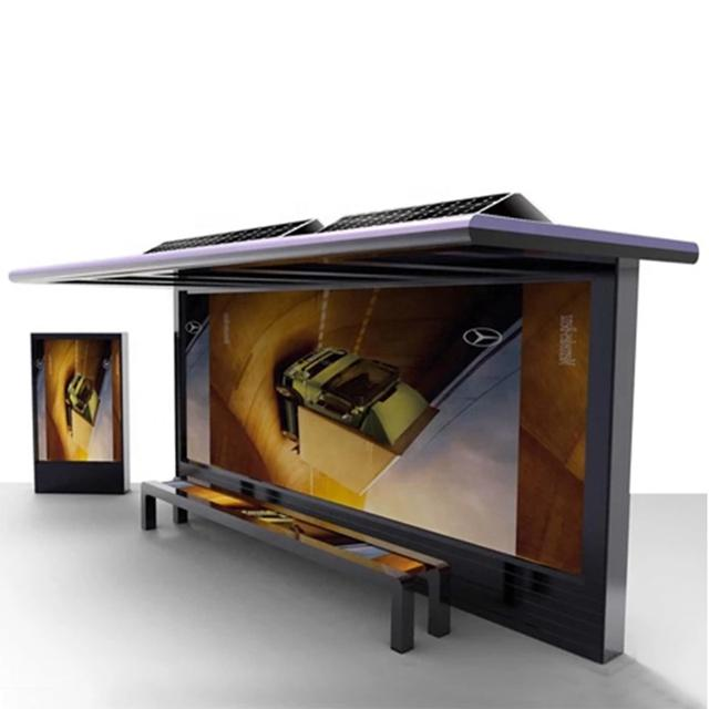 New Design Advertising Solar Bus Stop Shelter With LED Light Box