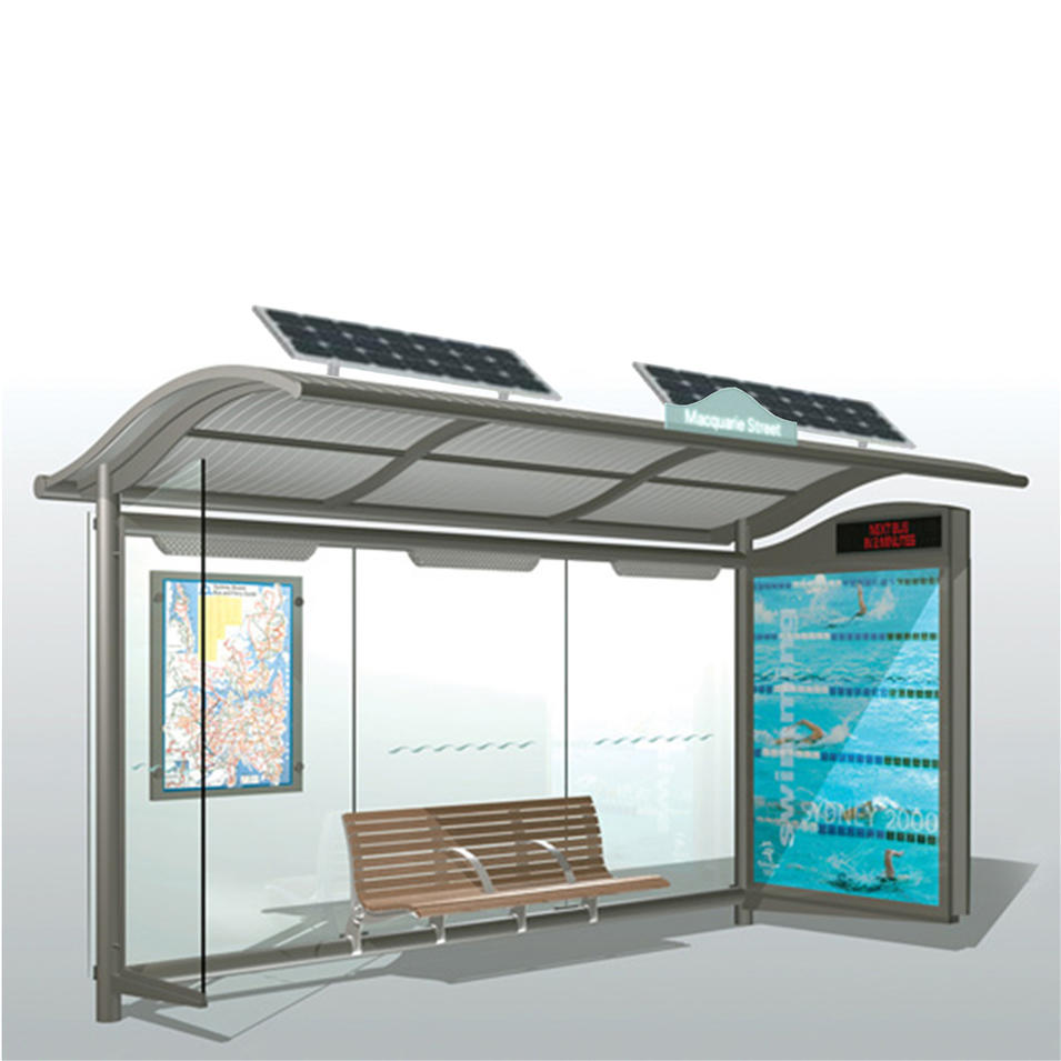 City outdoor furniture solar power advertising bus stop shelter