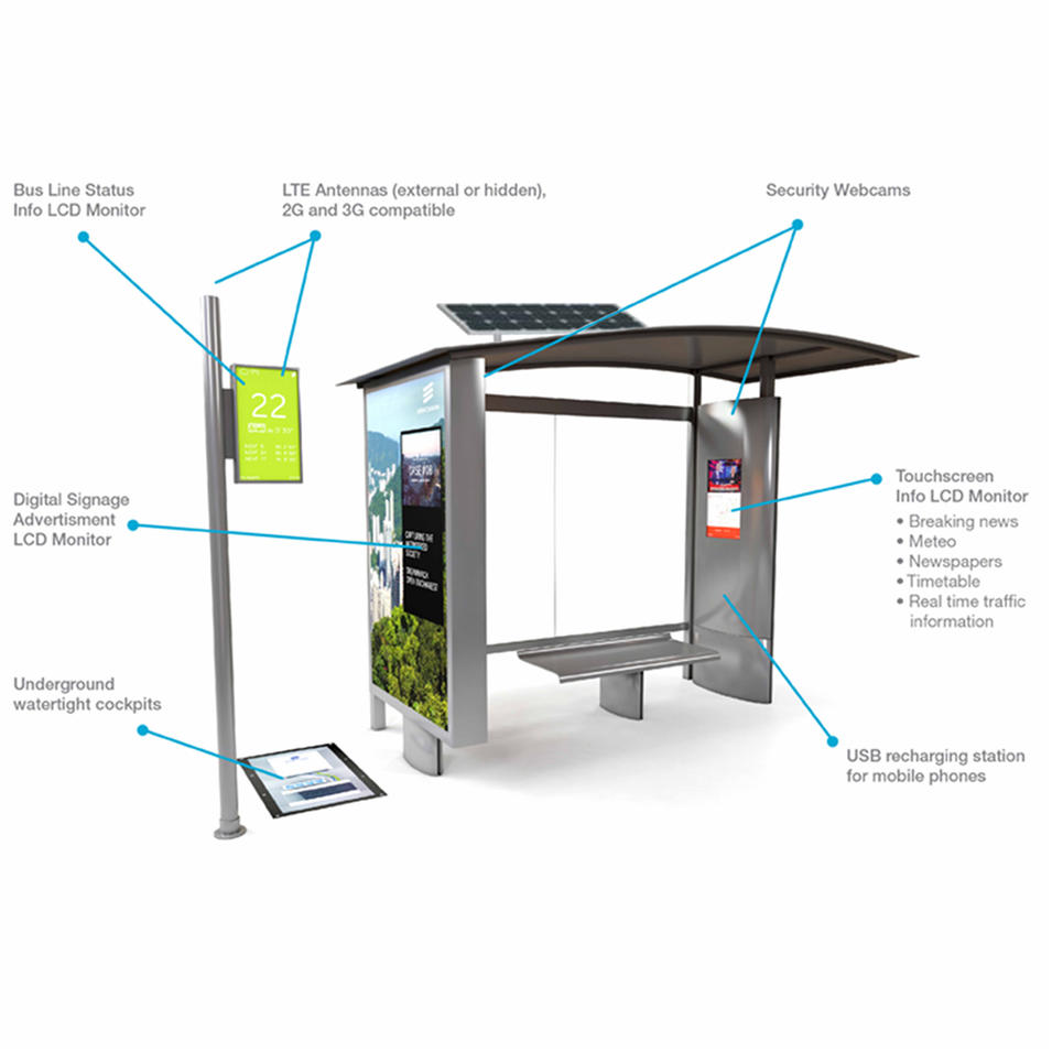 Stainless Steel LCD Digital Screen Bus Stop Shelter With Solar