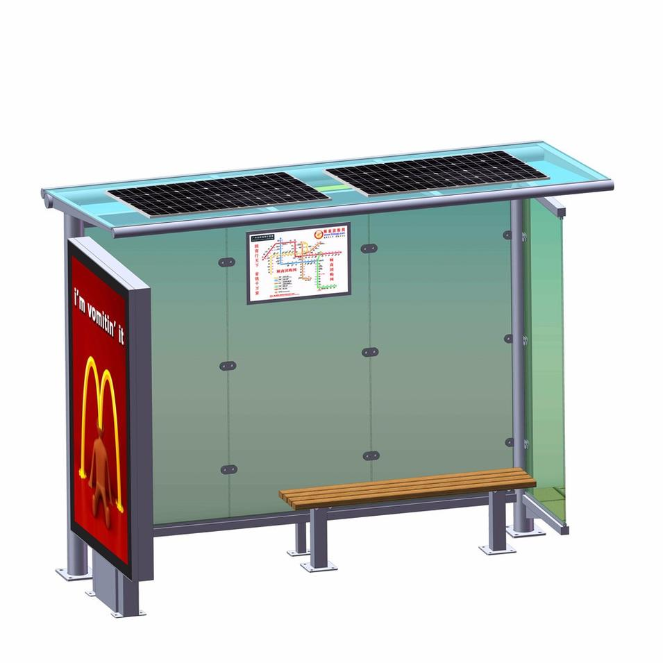 Chinese manufacturer solar bus stop with advertising light box mupi