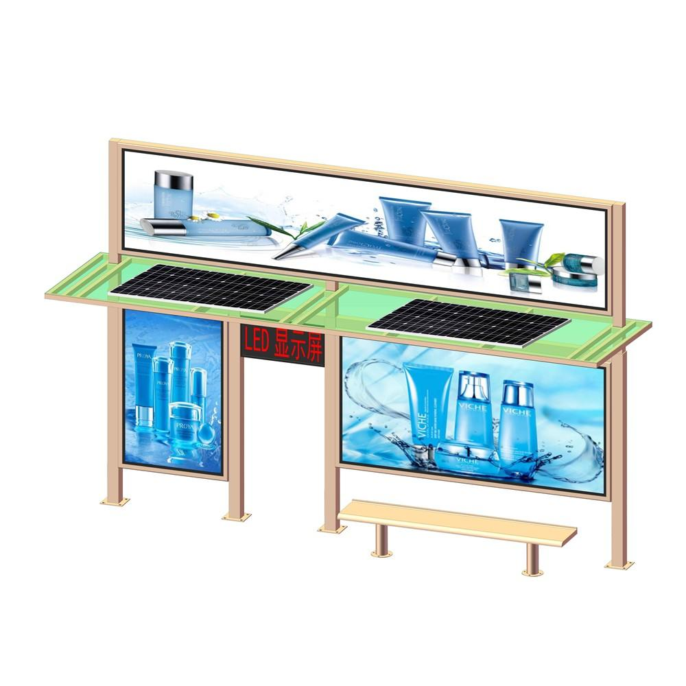 New Design Solar Power Bus Stop Shelterwith LED Display Advertising Billboard