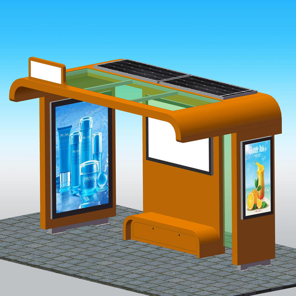 Popular solar powered metal bus stop shelter with waiting bench