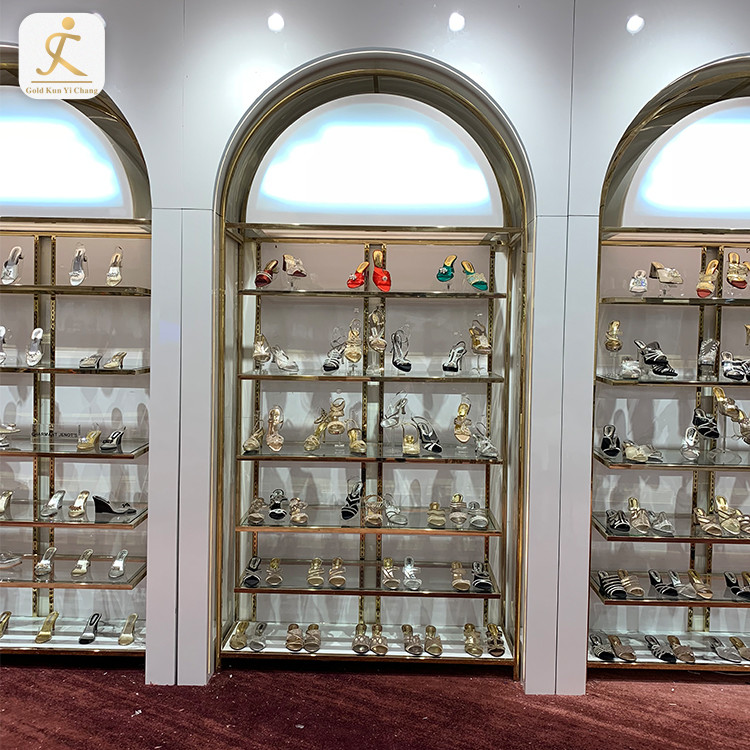 High End Shop Design Wall Showcase Metal Shoe Display Counter Stylish Stainless Steel Women's Shoes Store Display Counter