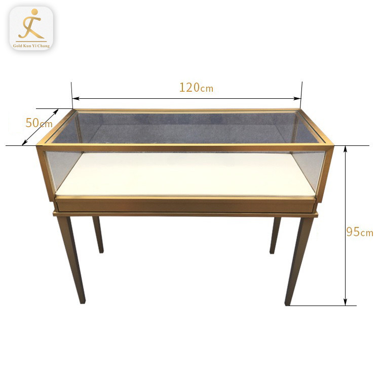 Custom Modern Stainless Steel Accessories Watch Cabinet Stand Glass Panel Jewelry Display Showcase