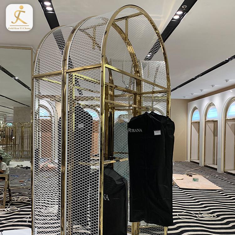 custom retail shop design metal gold clothing dress display rack stainless steel metal frame clothes hanging storage rack