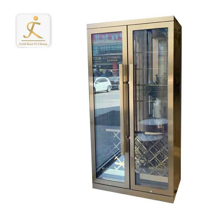 Professional customized metal antique gold wine cabinet stainless steel modern wine cabinet