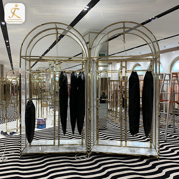 Clothes Store Stainless Steel Gold Coating Metal Hanging Clothes Display Racks Stand Customized Retail Store Clothing Rack