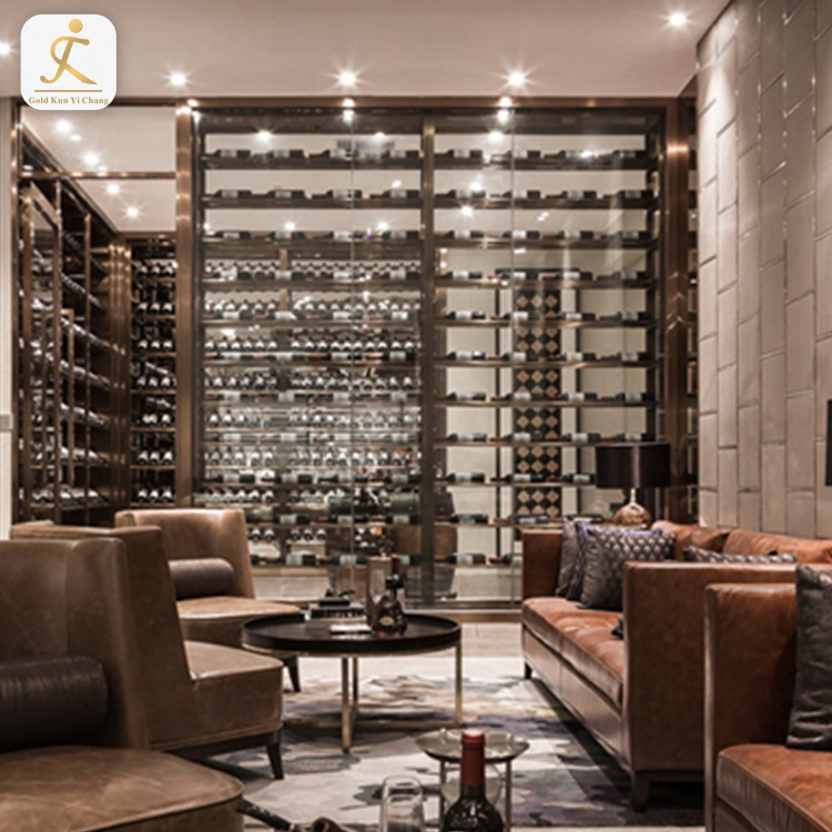 luxury stainless steel big metal customized modern wine cabinet with sliding glass doors furniture liquor cabinets