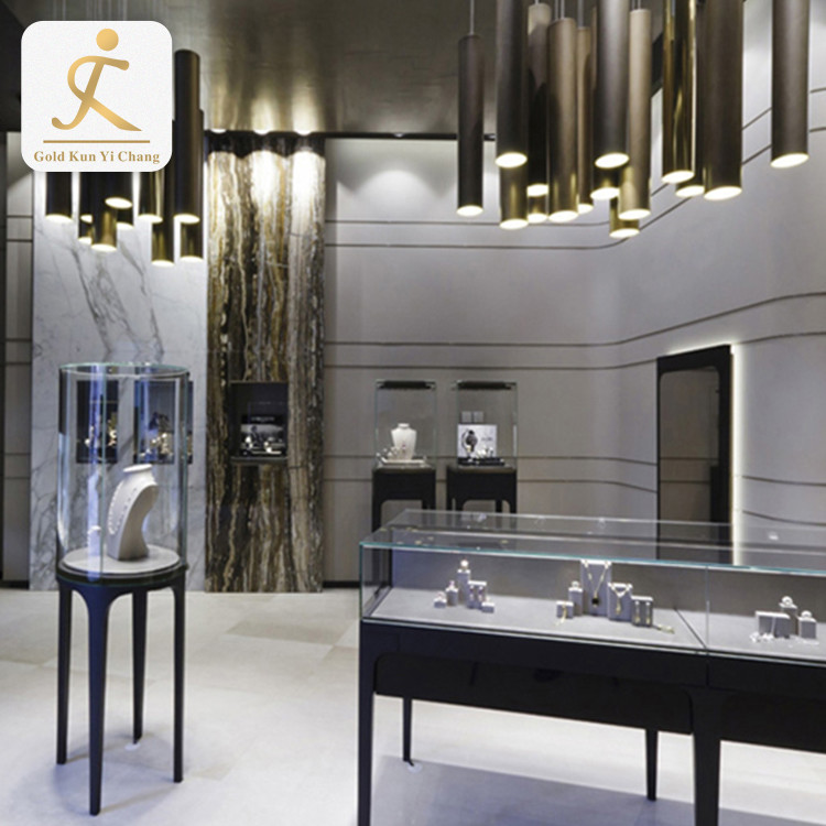 high end stainless steel fancy jewelry store showcase display counter custom jewelry showcase display stand