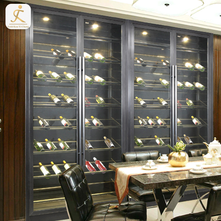 SUS 304 liquor cabinets with glass doors modern living room customized 4 doors stainless steel metal frame red wine cabinet
