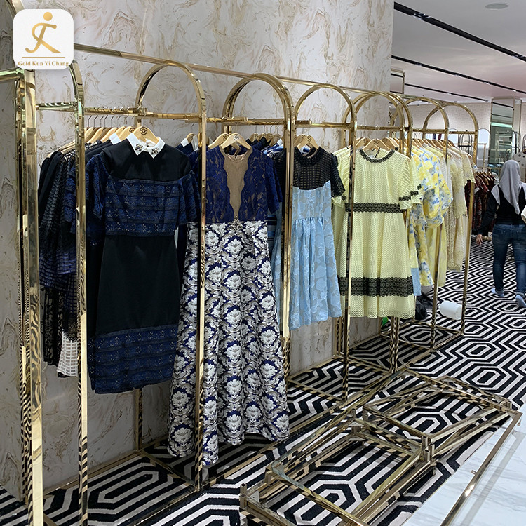 shopping mall stainless steel metal hanging rails clothes display racks retail store metal hanging clothing store display racks