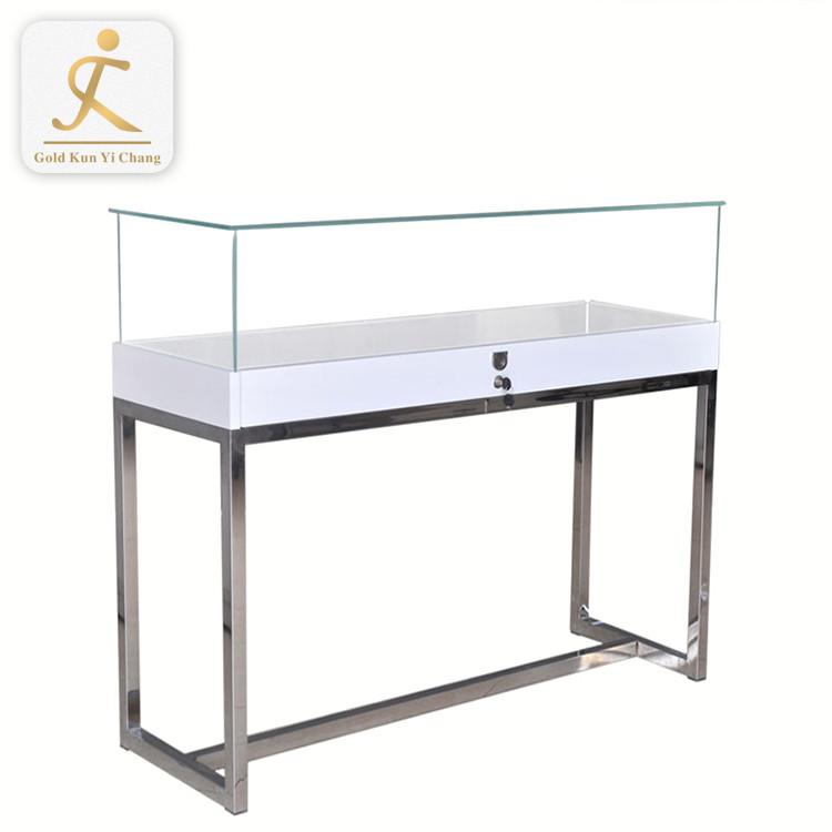 Stainless Steel Frame Vitrine Display Modern Jewelry Showcase Glass Jewelry Metal Display Cabinet Furniture For Jewelry
