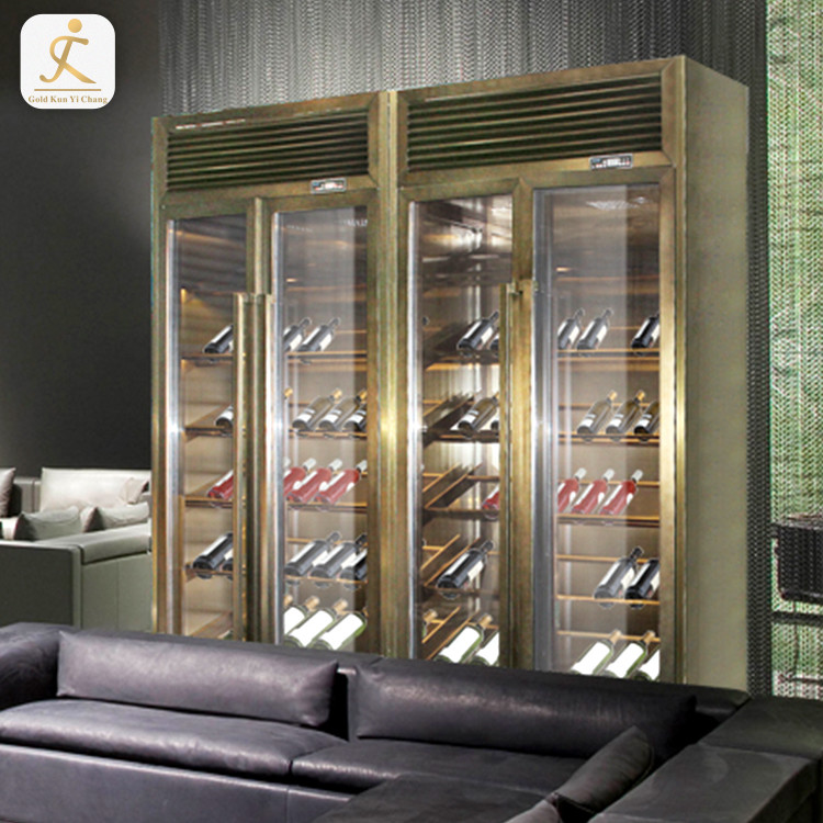 SS316L chinese commercial alcohol bar whiskey storage cabinet restaurant stainless steel wine cabinet display