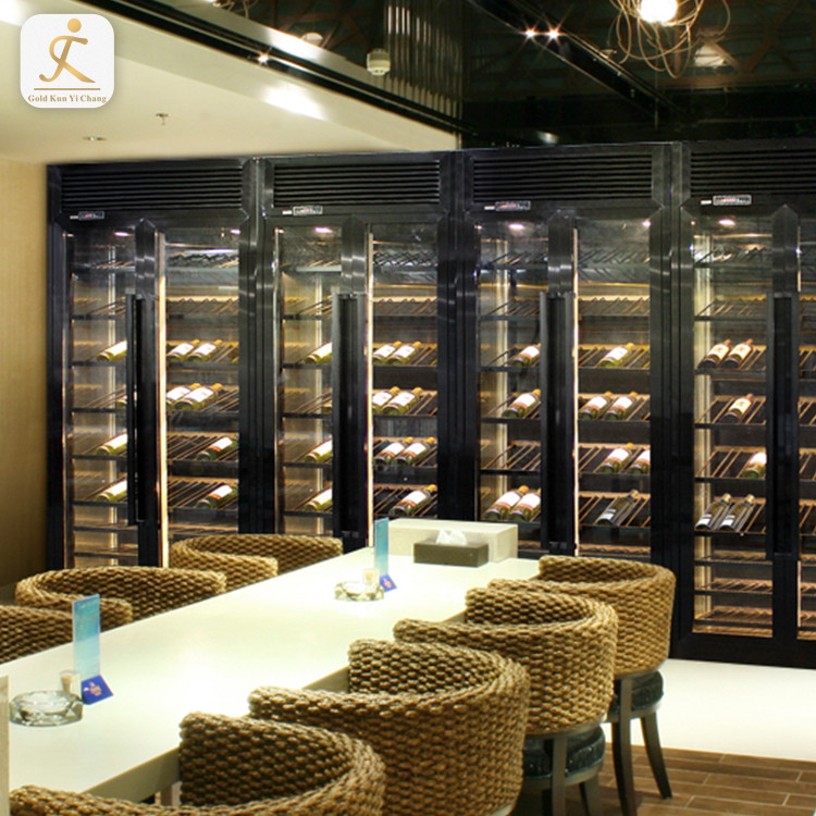 commercial cooling stainless steel display cabinets with lights luxury wall large wine whiskey display cabinet