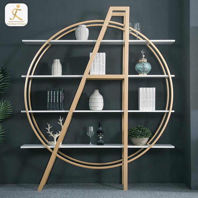 modern stainless steel artwork commodity shelf for decoration big golden polished metal artwork art display shelf