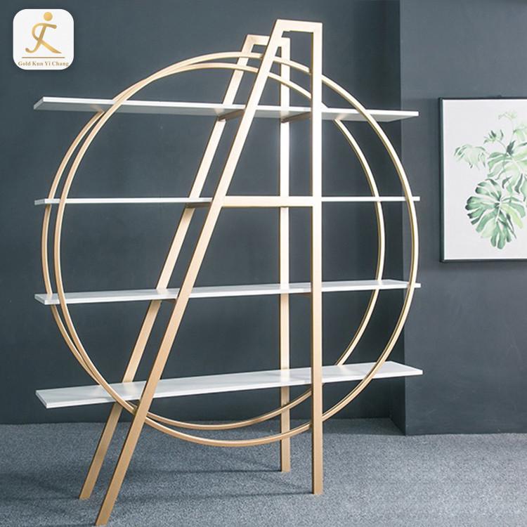modern round gold stainless steel display rack home study room golden custom shape design metal display shelf