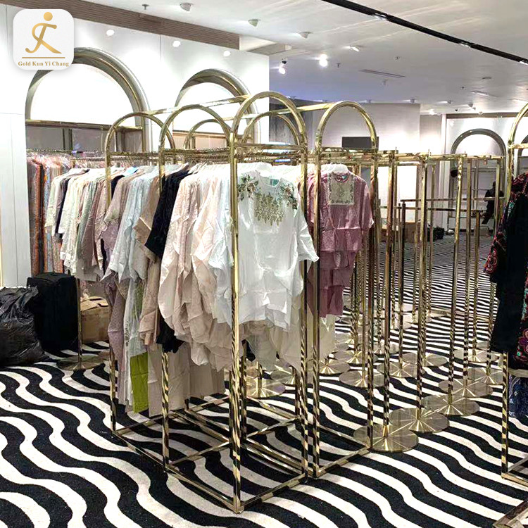 boutique clothing stand retail store metal apparel display rack for sale stainless steel metal clothes display rack