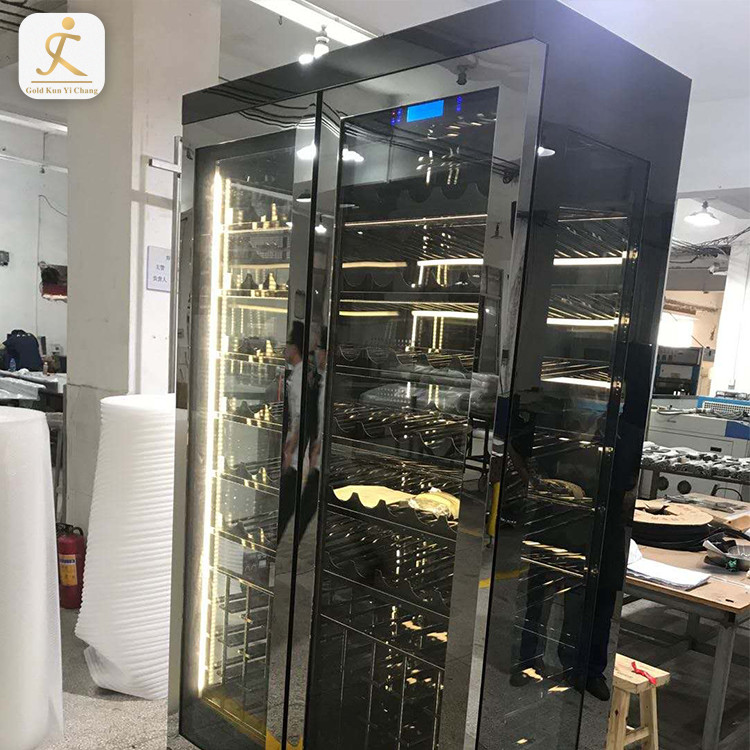 Stainless Steel Led Light Wine Refrigeration Cabinet Commercial Use Restaurant Stainless Steel Modern Wine Refrigerator