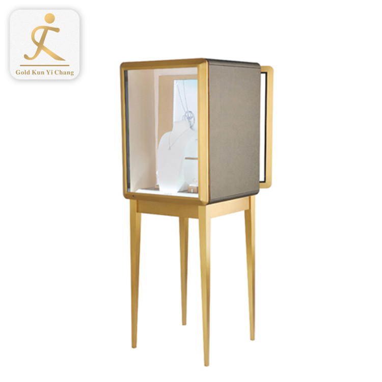 modern luxury glass jewelry shop display counter custom design stainless steel frame cabinet showcase
