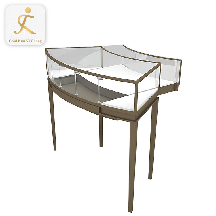 quarter round glass jewelry display showcase shopping mall stainless steel safety jewelry display glass cabinet showcase