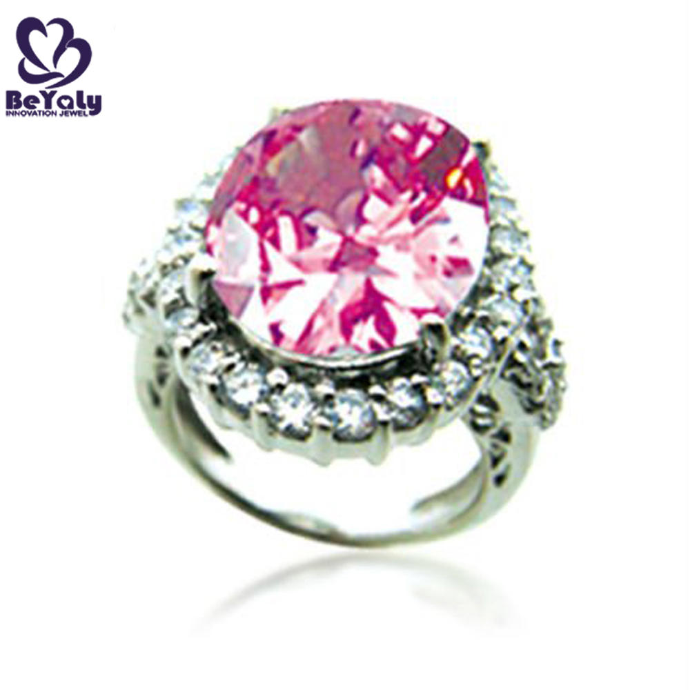 Wholesale female big pink natural stone silver jewelry