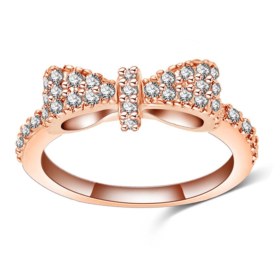Simple bespoke bow design cubic zirconia 925 silver wedding rings