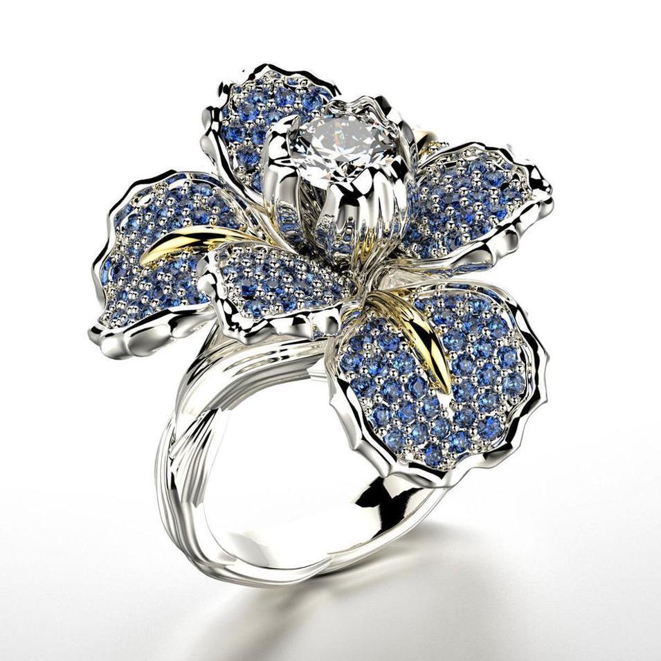 Blue stone flower carved jewellery models for women's rings