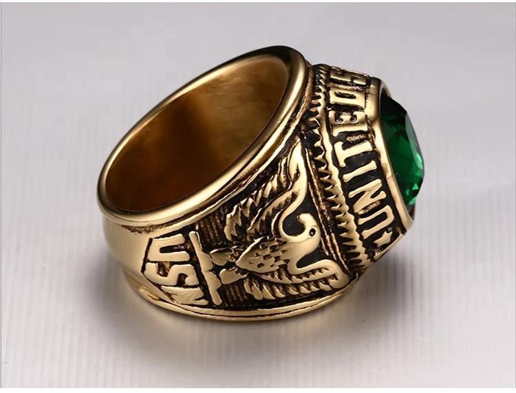 American Navy army souvenir green stone best friend rings