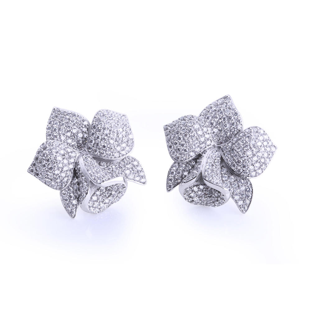 Graceful Orchid Flower Cz Inlaid 925 Sterling Silver Earrings