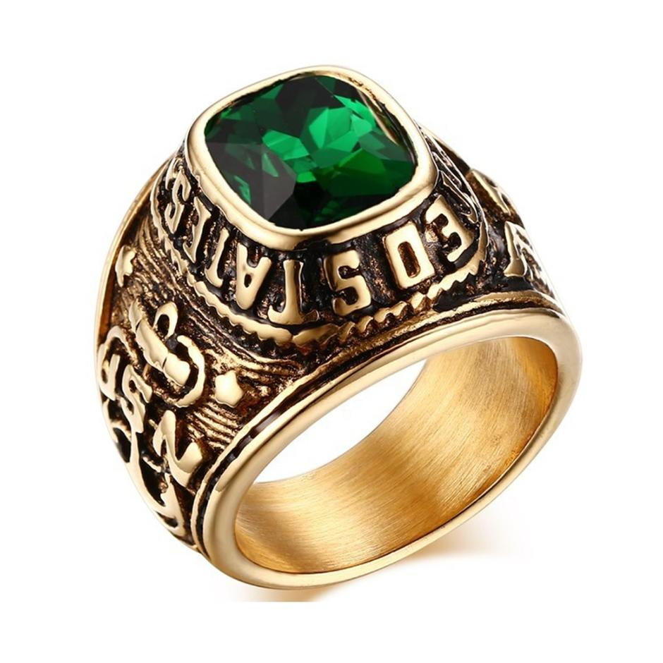 American Navy army souvenir green stone best friend rings